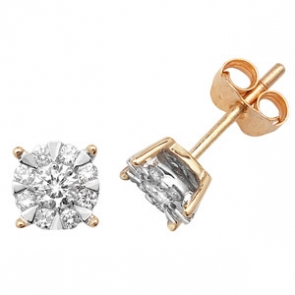 Diamond Studs Illusion Set 0.50ct, 9k Gold