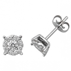 Diamond Studs Illusion Set 0.50ct, 9k White Gold