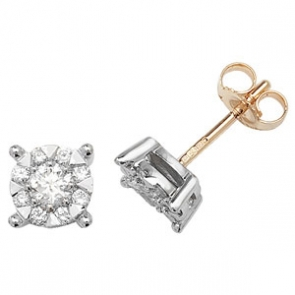 Diamond Studs Illusion Set 0.60ct, 9k Gold