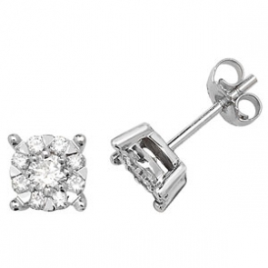Diamond Studs Illusion Set 0.60ct, 9k White Gold