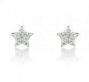 Diamond Star Earrings 0.12ct, 9k White Gold