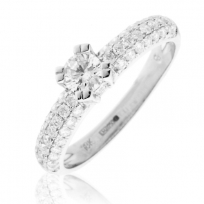 Diamond Pave Engagement Ring 0.80ct, 18k White Gold