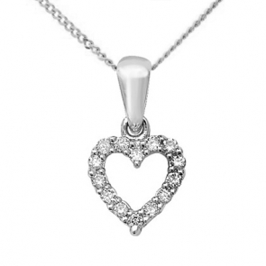 Diamond Heart Pendant 0.11ct, 9k White Gold
