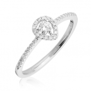Petite Diamond Pear Shape Engagement Ring 0.25ct, 18k White Gold
