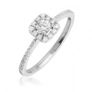 Petite Diamond Engagement Ring 0.35ct, 18k White Gold