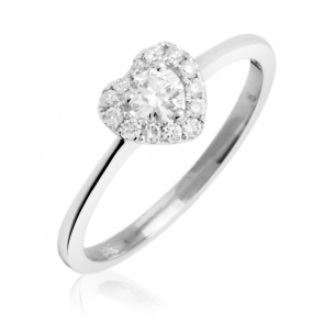 Diamond Heart Engagement Ring 0.30ct, 18k White Gold