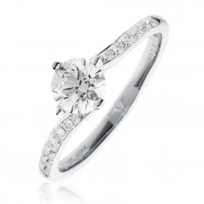 Diamond Twist Engagement Ring 0.85ct, 18k White Gold