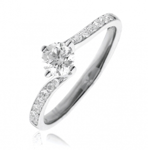 Diamond Twist Engagement Ring 0.55ct, 18k White Gold