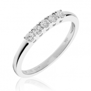 Diamond 5 Stone Ring 0.20ct, 18k White Gold