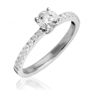 Diamond Engagement Ring 0.75ct, 18k White Gold