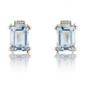 Diamond & Aquamarine Stud Earrings, 9k White Gold