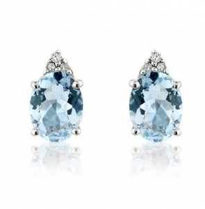 Aquamarine & Diamond Oval Stud Earrings, 9k White Gold