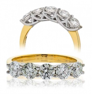Five Stone Diamond Ring 2.00ct, 18k Gold