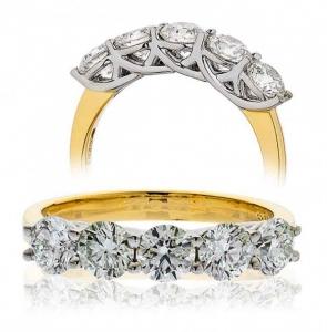 Five Stone Diamond Ring 2.00ct, 18k Gold