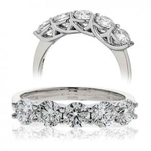Five Stone Diamond Ring 0.75ct, 18k White Gold