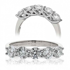Five Stone Diamond Ring 1.50ct, 18k White Gold
