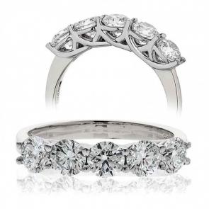 Five Stone Diamond Ring 1.50ct, Platinum