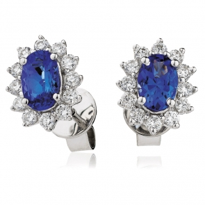 Sapphire & Diamond Oval Halo Earrings, 18k White Gold