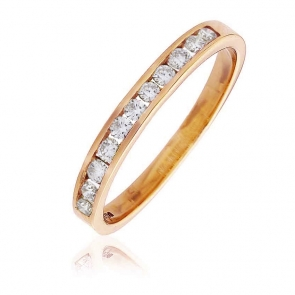 Diamond Channel Half Eternity Ring 0.25ct, 18k Rose Gold