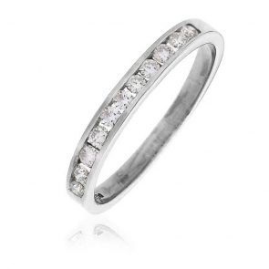 Diamond Channel Half Eternity Ring 0.25ct, 18k White Gold