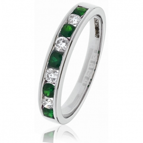 Diamond & Emerald 9 Stone Half Eternity Ring 0.50ct, 18k White Gold