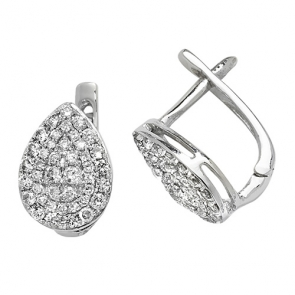 Diamond Pavé Pear Shape Earrings 0.50ct, White Gold