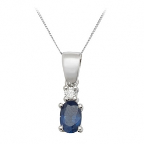 Sapphire & Diamond Oval Drop Necklace, 9k White Gold