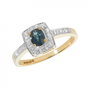 Diamond & Sapphire Cushion Ring 0.44ct, 9k Gold