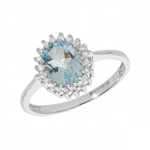 Diamond & Aquamarine Ring 1.10ct, 9k White Gold