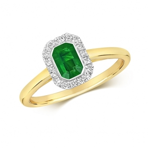 Diamond & Octagon Cut Emerald Ring 0.64ct, 9k Gold