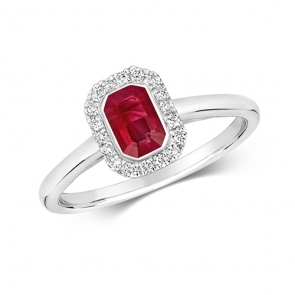 Diamond & Octagon Cut Ruby Ring 0.81ct, 9k White Gold