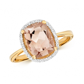 Morganite & Diamond Cushion Cut Ring, 9k Gold