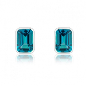 London Blue Topaz Stud Earrings, 9k White Gold