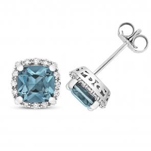 London Blue Topaz & Diamond Cushion Stud Earrings