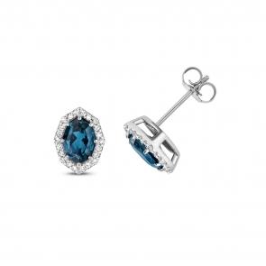 London Blue Topaz & Diamond Stud Earrings
