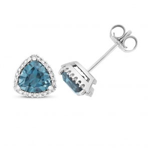London Blue Topaz & Diamond Trillion Stud Earrings