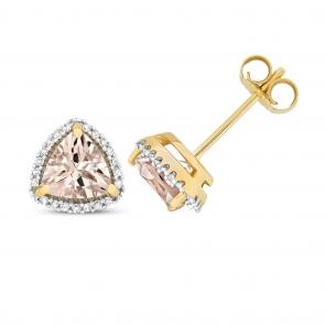 Morganite & Diamond Trillion Stud Earrings, 9k Gold