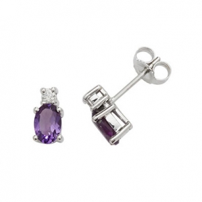 Natural Amethyst & Diamond Oval Stud Earrings, 9k White Gold