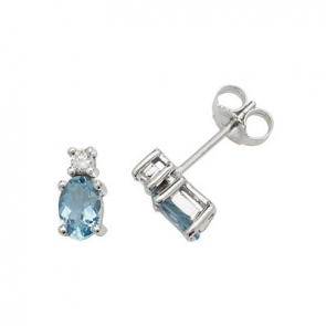 Natural Aquamarine & Diamond Oval Stud Earrings, 9k White Gold