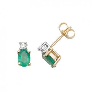 Natural Emerald & Diamond Oval Stud Earrings, 9k Gold