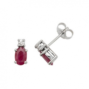 Natural Ruby & Diamond Oval Stud Earrings, 9k White Gold