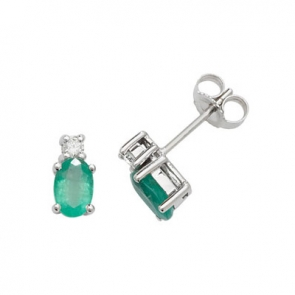Natural Emerald & Diamond Oval Stud Earrings, 9k White Gold