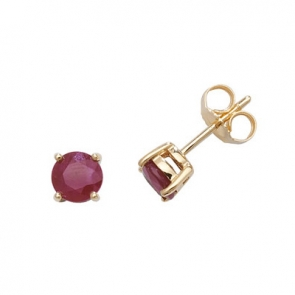 Natural Ruby Stud Earrings 5mm, 9k Gold