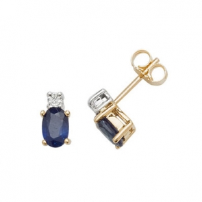 Natural Sapphire & Diamond Oval Stud Earrings, 9k Gold