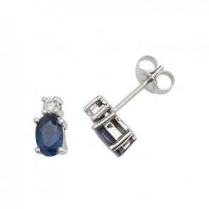 Natural Sapphire & Diamond Oval Stud Earrings, 9k White Gold