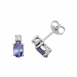 Natural Tanzanite & Diamond Oval Stud Earrings, 9k White Gold