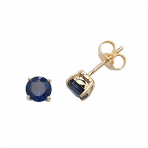 Natural Blue Sapphire Stud Earrings 5mm, 9k Gold