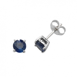 Natural Blue Sapphire Stud Earrings 5mm, 9k White Gold