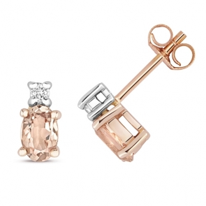 Natural Morganite & Diamond Oval Stud Earrings, 9k Rose Gold
