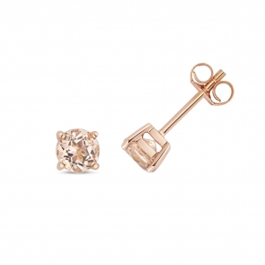 Natural Morganite Stud Earrings 5mm, 9k Rose Gold